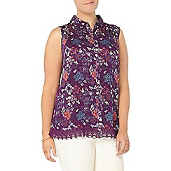 Evans - Purple busty fit floral print shirt