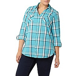 Evans - Turquoise blue check shirt