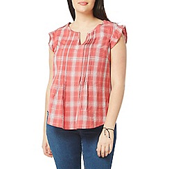 Evans - Red check pintuck top