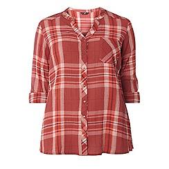 Evans - Orange check crinkle shirt