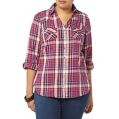 Evans - Raspberry pink check shirt
