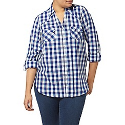 Evans - Blue and white check shirt