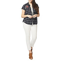 Evans - Navy blue short sleeve check shirt