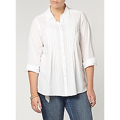 Evans - White emborided spot shirt