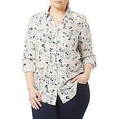 Evans - Ivory heart print shirt