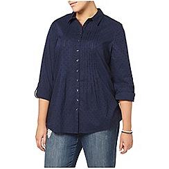 Evans - Navy embroidered spot spot shirt