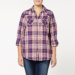 Evans - Pink & purple check shirt