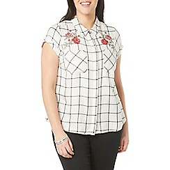 Evans - White embroidered check shirt