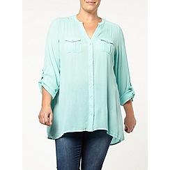 Evans - Green crinkle longline shirt