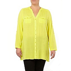Evans - Yellow crinkle longline shirt