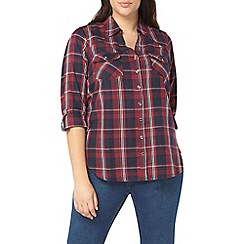 Evans - Berry red check shirt