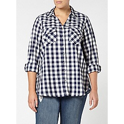Evans - Navy checked pear fit shirt