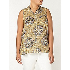 Evans - Yellow paisley print sleeveless shirt