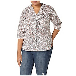 Evans - Ivory busty fit printed shirt