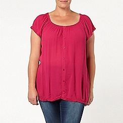 Evans - Pink pom pom trim gypsy top