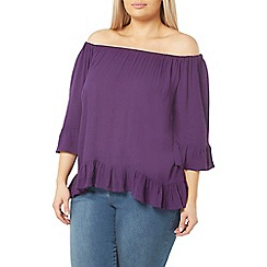Evans - Purple frill gypsy top