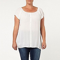 Evans - Ivory pom pom trim gypsy top