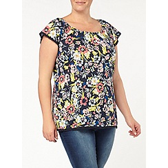 Evans - Navy floral print gypsy top