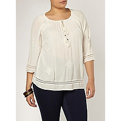 Evans - Ivory embroidered gypsy top