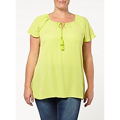 Evans - Lime green crinkle gypsy top