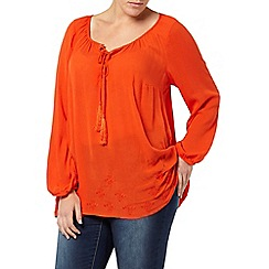 Evans - Orange embroidered hem gypsy top