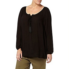 Evans - Black embroidered hem gypsy top
