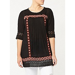 Evans - Black embroidered tunic