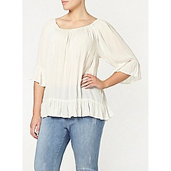 Evans - Ivory frill gypsy top