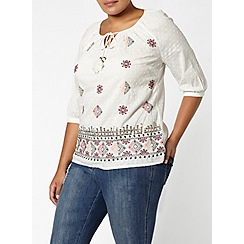 Evans - Ivory embroidered top