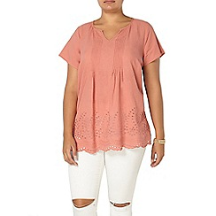 Evans - Peach busty embroidered top