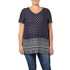 Evans - Navy border printed swing top