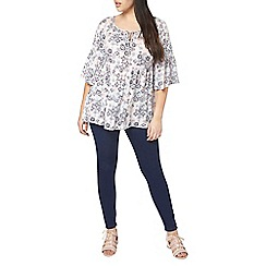 Evans - Ivory abstract print top