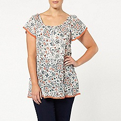 Evans - Ivory tile print gypsy top