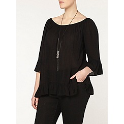 Evans - Black frill gypsy top
