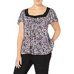 Evans - Purple busty fit print top