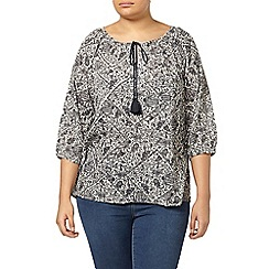 Evans - Black and white printed gypsy top