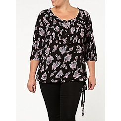 Evans - Black paisley 3/4 sleeve gypsy top