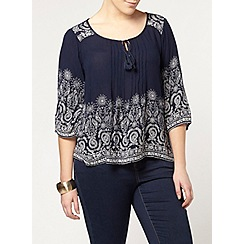 Evans - Navy floral border gypsy top