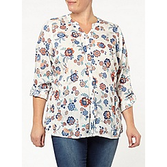 Evans - Ivory beaded floral shirt