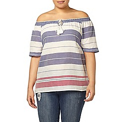 Evans - Ivory and navy stripe gypsy top