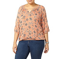 Evans - Peach floral print gypsy top