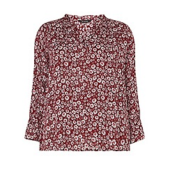 Evans - Red floral frill shirt