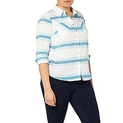 Evans - Turquoise blue striped shirt