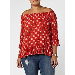 Evans - Orange printed frill gypsy top