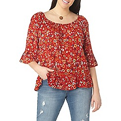 Evans - Red floral gypsy print frill top