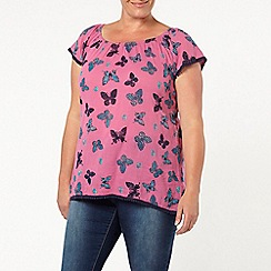 Evans - Pink butterfly print gypsy top