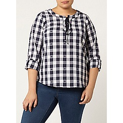 Evans - Navy and ivory check top