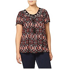 Evans - Red busty fit printed top