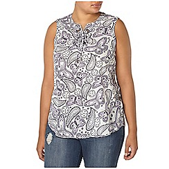 Evans - Ivory printed sleeveless top