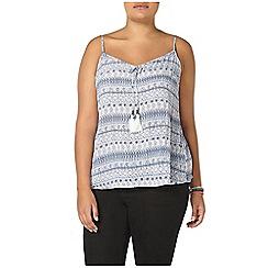 Evans - Blue busty fit printed cami top